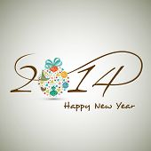Happy New Year 2014 celebration background with stylish text colorful Xmas ball on abstract grey bac