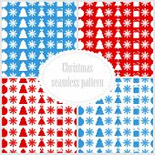 Set Of Seamless Christmas Patterns.collection Of New Year Festive Backgrounds.vector