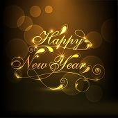 stock photo of happy new year 2014  - Happy New Year 2014 celebration concept with stylize golden text on brown background - JPG