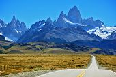 Famous rock Fitz Roy peaks in the Andes. Magnificent panorama of snow-capped mountains in Patagonia.