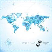 Geometric pixel shape World map background.