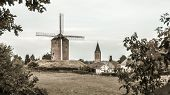 Little Dutch town with windmill