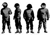 Vector drawing of special police force. Property release is attached to the file