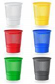 Dustbin Colors Vector Illustration