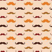 Vector Hipster Mustache Seamless Pattern