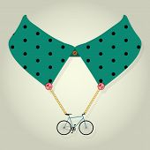 Hipster Collar with Chain Bicycle Accessory Vector