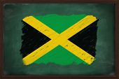 Jamaica Flag Painted With Chalk On Blackboard