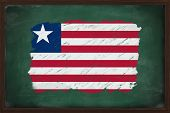 Liberia Flag Painted With Chalk On Blackboard