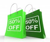 Fifty Percent Off On Shopping Bags Shows 50 Bargains