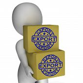 Export  Boxes Show Exporting Goods And Merchandise