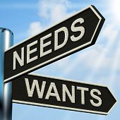 Needs Wants Signpost Means Necessity And Desire