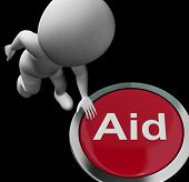 Aid Button Shows Help Support Or Treatment