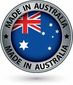 Made In Australia Silver Label With Flag, Vector Illustration
