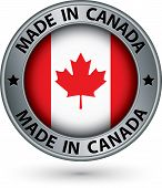 Made In Canada Silver Label With Flag, Vector Illustration