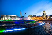 MOSCOW, RUSSIA - JUNE 14, 2012: View of Kievskiy railway station at night. Station was opened 1918 i
