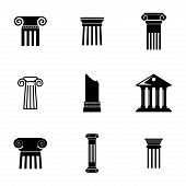 foto of greek-architecture  - Vector black column icons set on white background - JPG