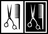 stock photo of barbershop  - black and white background with scissors and comb - JPG