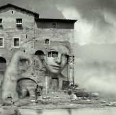 picture of surrealism  - Artistic surreal imagine in black and white with a girl face camouflaged in a complex of antique building and ruins in a surreal background - JPG