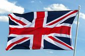 british flag on sky background