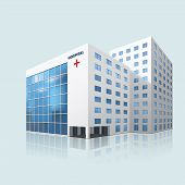 stock photo of building exterior  - city hospital building with reflection on a blue background - JPG