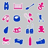 equipment for baby stickers set eps10