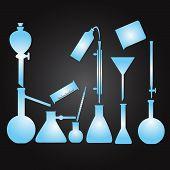 chemistry laboratory glassware eps10