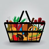 shopping cart with foodstuffs icons eps10