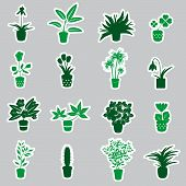 home houseplants and flowers in pot stickers eps10