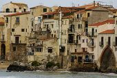 Houses Along The Shoreline And Cathedral In Background, Cefalu, Sicily