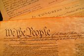 stock photo of preamble  - Preamble to the Bill of Rights and the Declaration of independence in the background - JPG