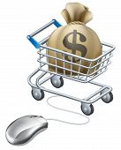 stock photo of trolley  - Mouse connected to trolley full of money in a big sack with a dollar symbol on it - JPG