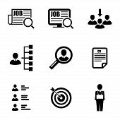 Vector black job search icons set