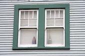 Unattractive green window and blue siding.