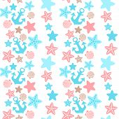 Anchor; Seashell And Starfish Seamless Pattern
