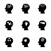 Vector black thoughts icons set