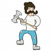 cartoon man with axe