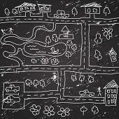 Vector background seamless city map pattern hand drawn