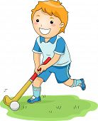 pic of little-league  - Illustration of a Little Boy Happily Playing Field Hockey - JPG