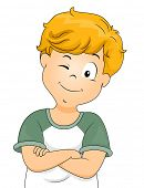 Illustration of a Little Boy With His Arms Crossed Flashing a Wink