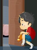 foto of sneak  - Illustration of a Little Boy on Tiptoes Trying to Sneak Out of the House - JPG