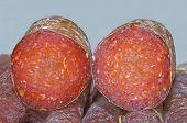 Cross Section of Croatian Smoked Dry Pork Meat Sausage, Kulen