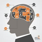 Infographics template with head, brain puzzle and business icons. Concept modern business
