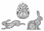 Coloring pages symbols of Easter egg hare rabbit