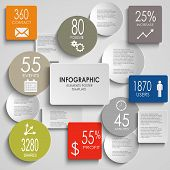 Abstract colored round rectangle info graphic elements template