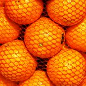Bunch Of Fresh  Orange Fruits In A String Bag On Market. Fruit Background.