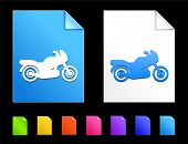 Motorcycle Icons on Colorful Paper Document Collection