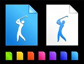 Golf Icons on Colorful Paper Document Collection