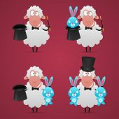 Set sheep magician in different poses