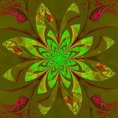 Fabulous Symmetrical Flower Pattern. Computer Generated Graphics.