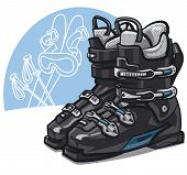 foto of ski boots  - illustration of the pair of new black ski boots - JPG